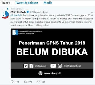 Seleksi CPNS Tahun Anggaran 2018 belum dibuka