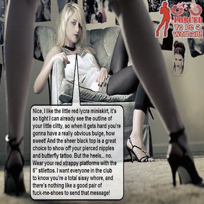 Wear your red strappy platforms Sissy TG Caption - Candi's Place - Crossdressing and Sissy Tales and Captioned images