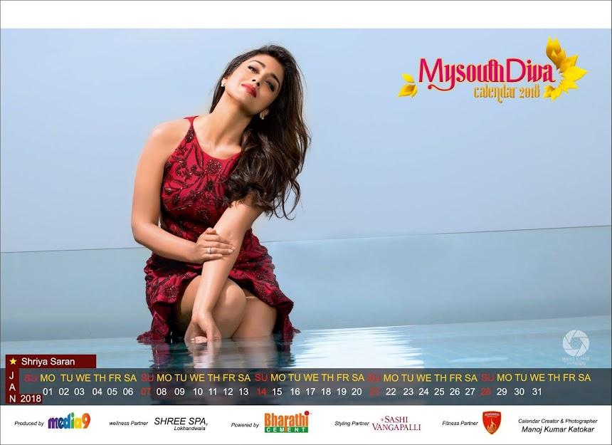 My South Diva Calendar 2018 - Shriya Saran