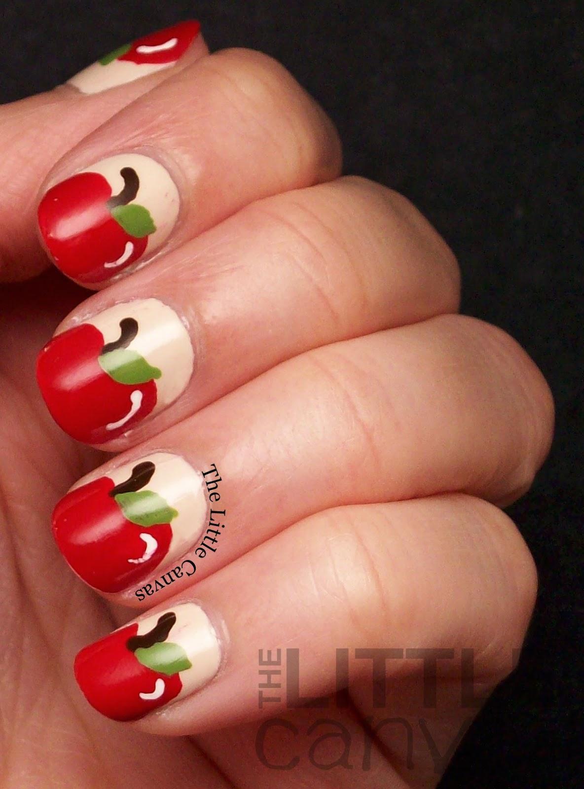 The Beauty Buffs Fall Theme Apple Nail Art The Little Canvas