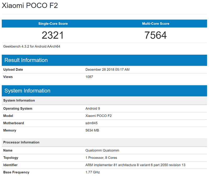 POCOPHONE F2 spotted on Geekbench