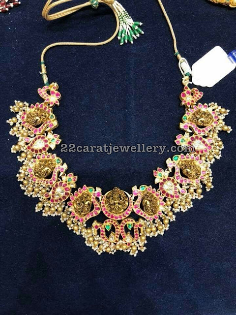 Peacock Lakshmi Choker with Kundan