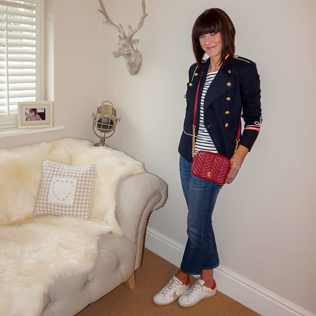 my midlife fashion, isabel marant etoile military jacket, the white company essential breton long sleeve top, golden goose superstar low top leather trainers, j crew billie demi crop boot jeans, lauren ralph lauren payton small cross body bag