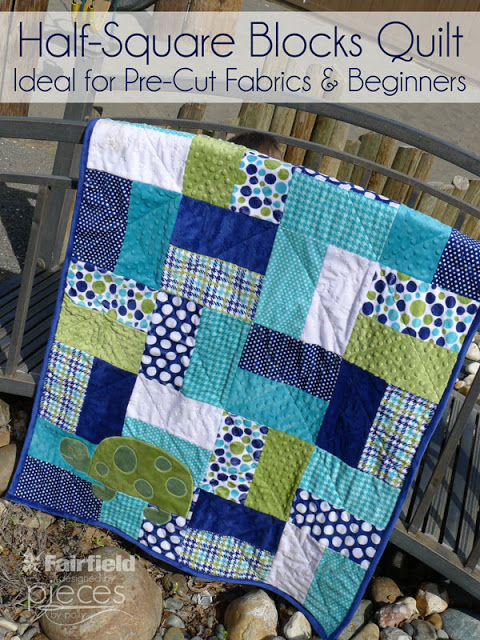 Half Square Blocks Quilt from Pieces by Polly