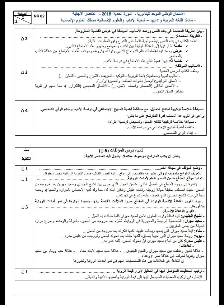 الامتحان الوطني الموحد للباكالوريا، مادة اللغة العربية، مسلك العلوم الإنسانية / الدورة العادية 2015