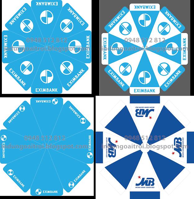 Mẫu thiết kế dù quảng cáo Ngân hàng MB Bank, dù quảng cáo Ngân hàng Eximbank