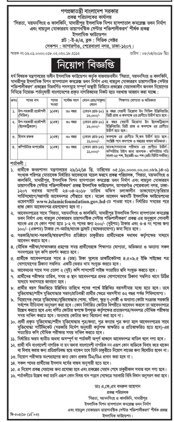 Bangladesh Islamic Foundation Job Circular 2018