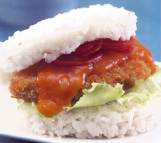 Rice Burger with Fish and Sweet Sour Sauce Recipe