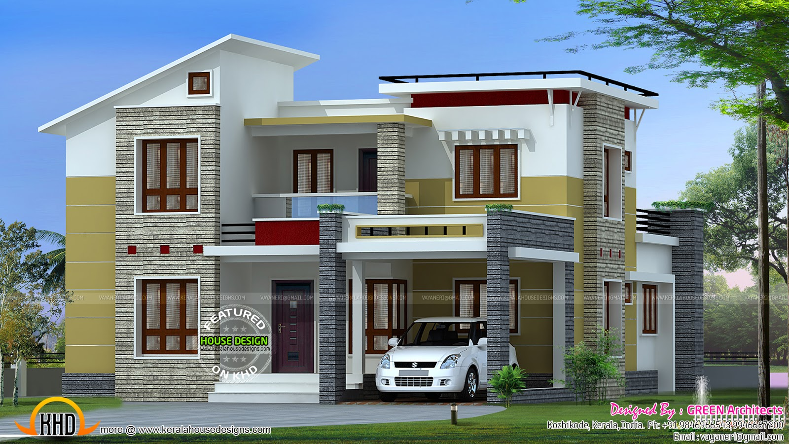 2200 square feet slanting roof mix home kerala home for Price to build a 2000 square foot house