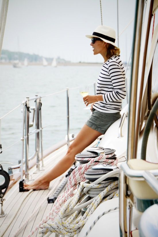 striped-tee-shorts-hat-boat-summer