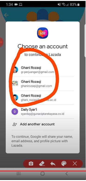 cara daftar Lazada: pilih akun Google untuk masuk