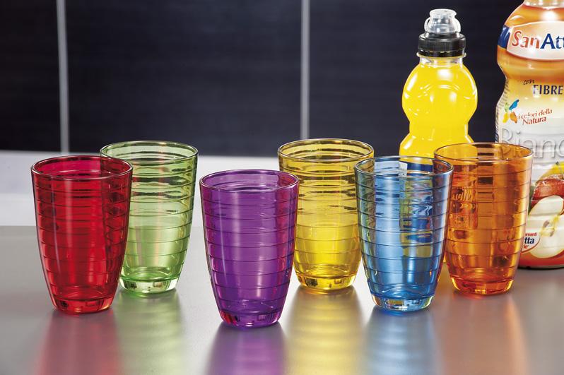 Shoppingtrendy it set 6 bicchieri vetro colorati sanya 33cl for Bicchieri colorati vetro