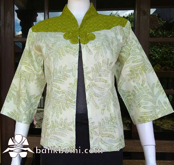 Cardigan Batik Padi Hijau Batik Cap Smoke