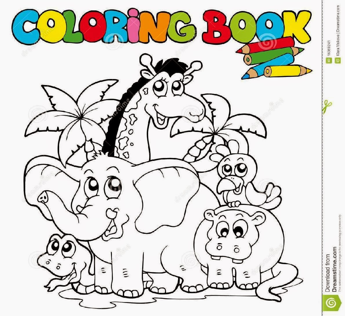 Coloring Book With Cute Animals 1 Stock Image   Image 16368241