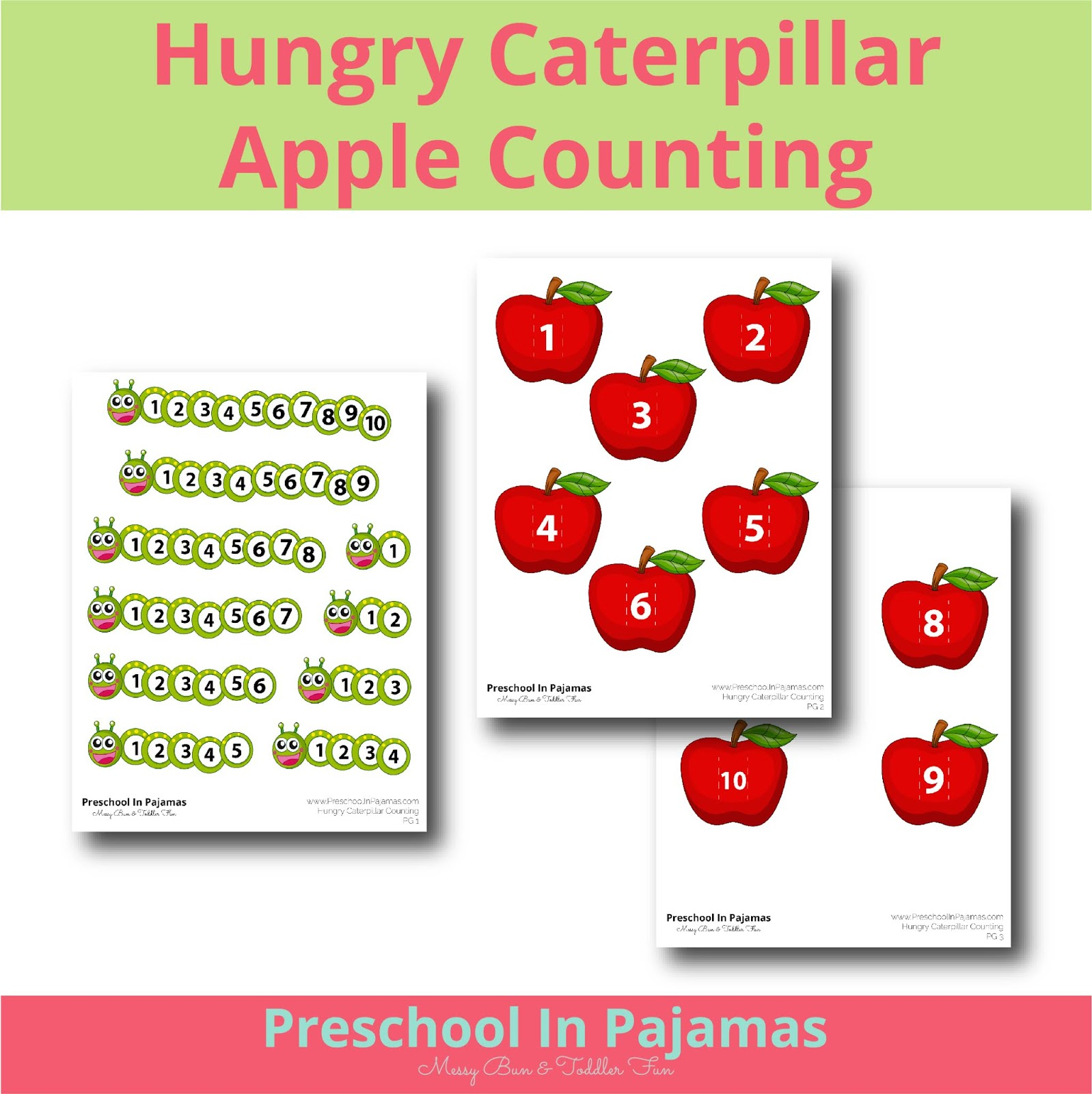 Free Hungry Caterpillar Apple Counting Printable Game