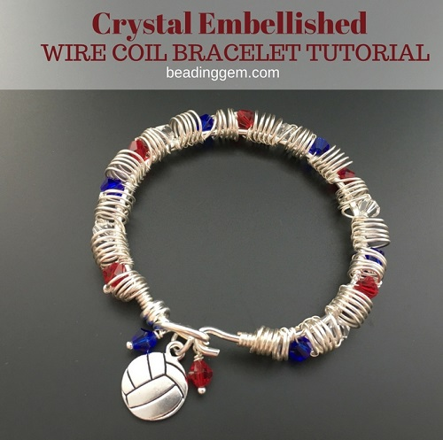How To Make A Crystal Embellished Coiled Wire Bracelet Tutorial