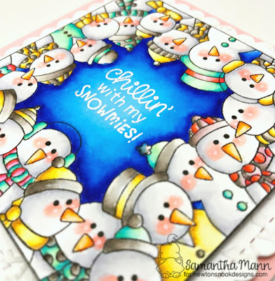 Chillin' with my Snowmies Card by Samantha Mann for Newton's Nook Designs, Snowman, Square card, winter, christmas #newtonsnook #snowman #zigcleanclearrealbrushmarkers #cards #christmas