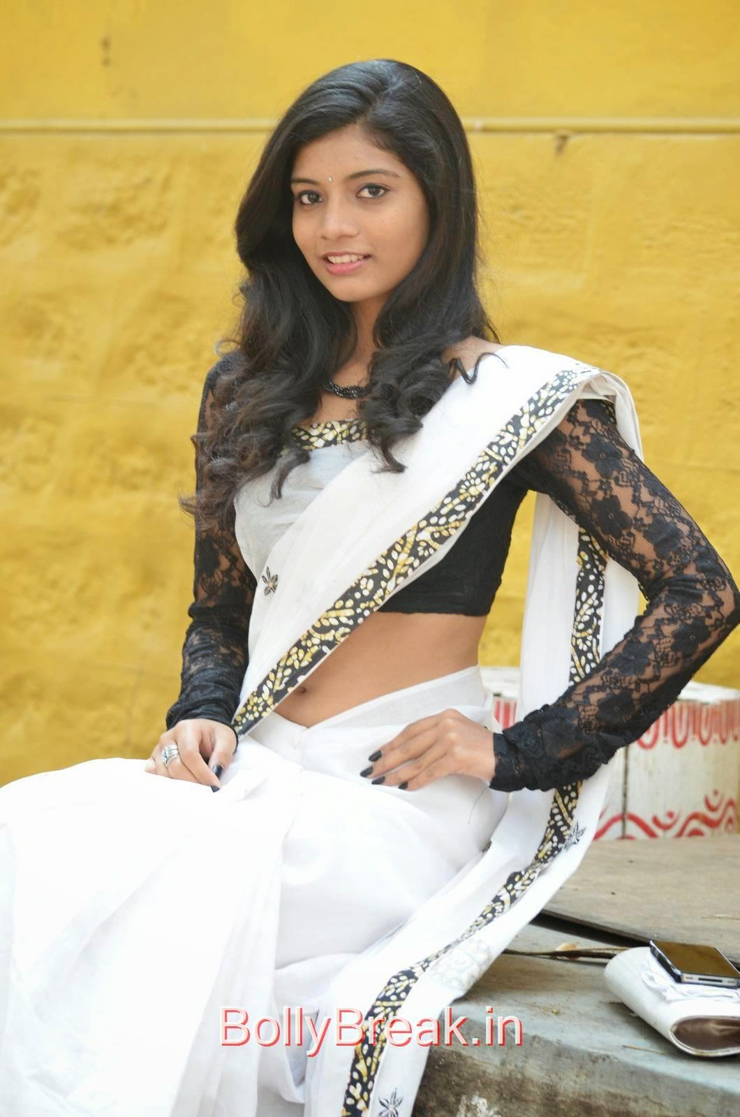 Bindu Photoshoot Stills, Bindhu Latest Hot Pics In White Saree