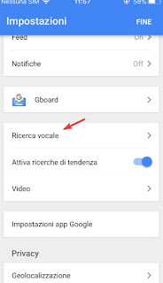 Ricerca vocale google ios