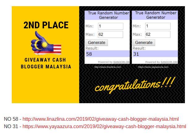 Menang Giveaway Cash Blogger Malaysia