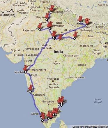 Roteiro de viagem previsto para viagem à Índia e Nepal com o trekking em Pokhara, primeiras paradas no continente asiático.
