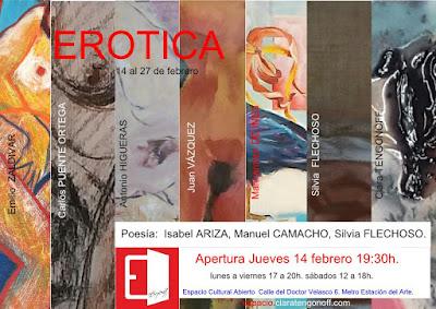 Invitación colectiva Erótica en Espacio Cultural Abierto.