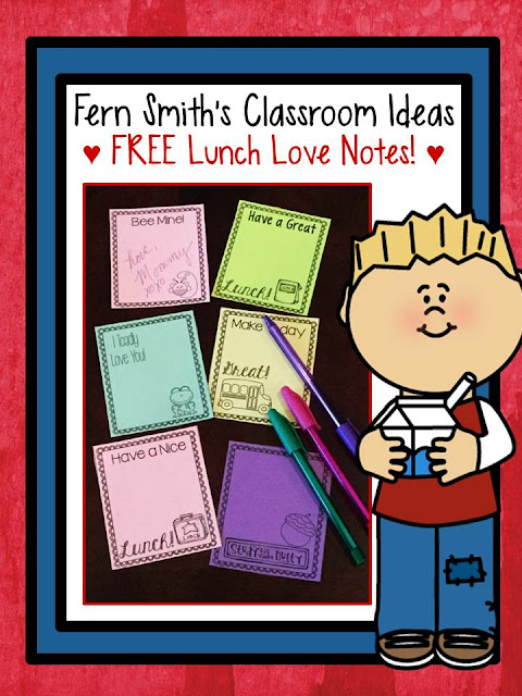 Fern Smith's Classroom Ideas FREE Printable Lunch Box Love Notes at TeacherspayTeachers.