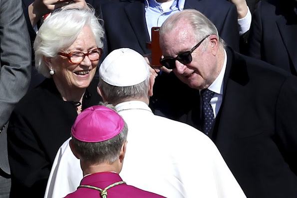 Former King Albert II of Belgium and Queen Paola of Belgium attended the Easter Mass celebrated by Pope Francis in St. Peter's square, Diamond Tiara, diamond erarrings, baracelet, wedding dress, style royal