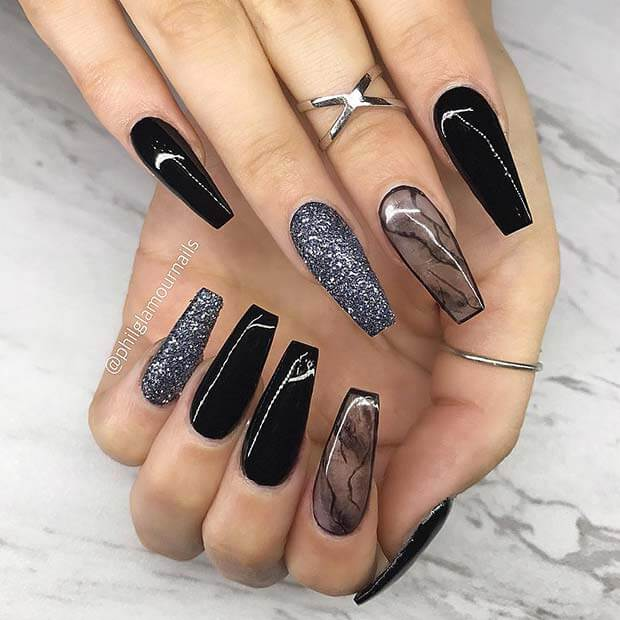 19 Trendy Black Coffin Nails Art Styles 2019 That Are Edgy