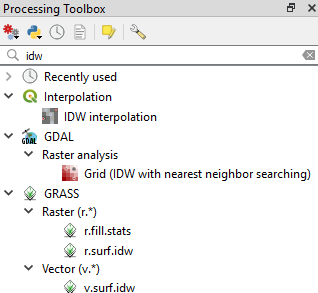 IDW available tools in QGIS