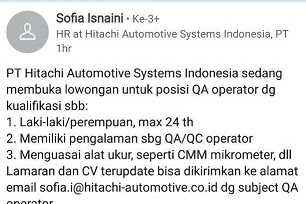 Lowongan PT Hitachi Automotive Systems Indonesia Kawasan GIIC