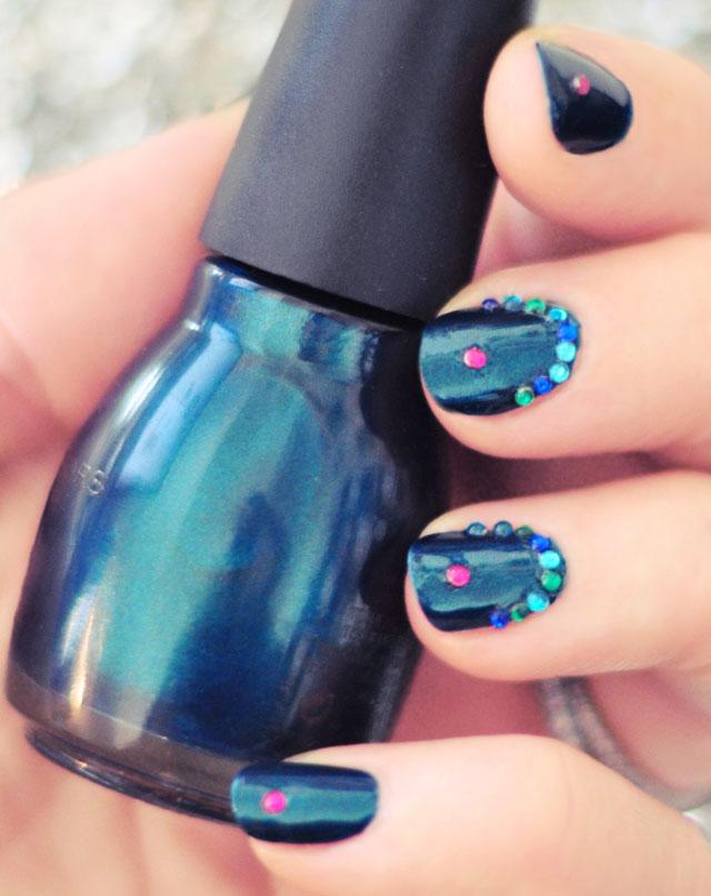Jasmine Manicure | Deep Teal Nails w/ Gemstone Accents
