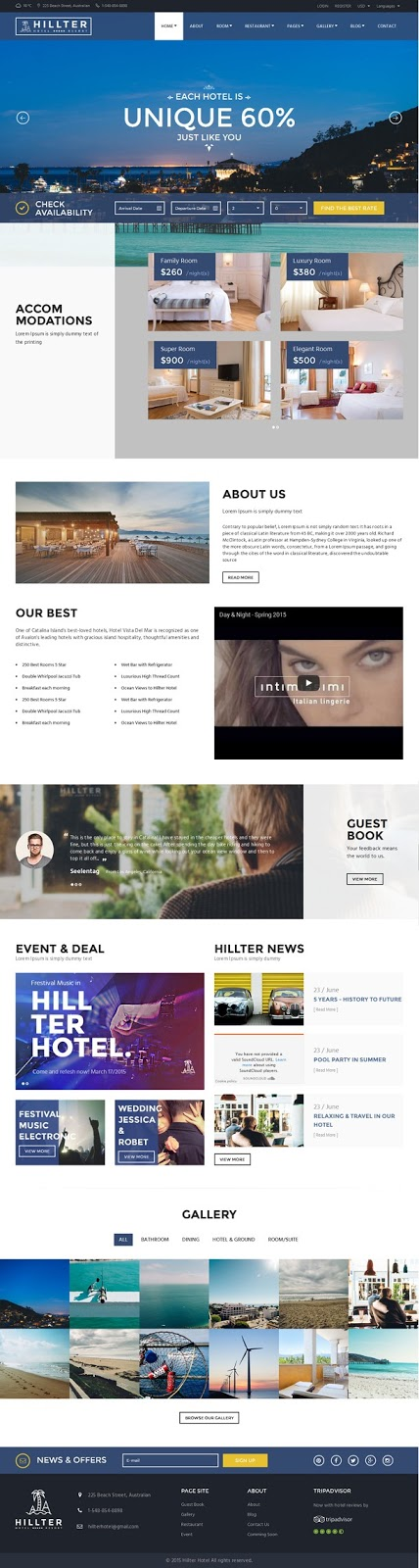 Hillter Hotel Booking Drupal Theme