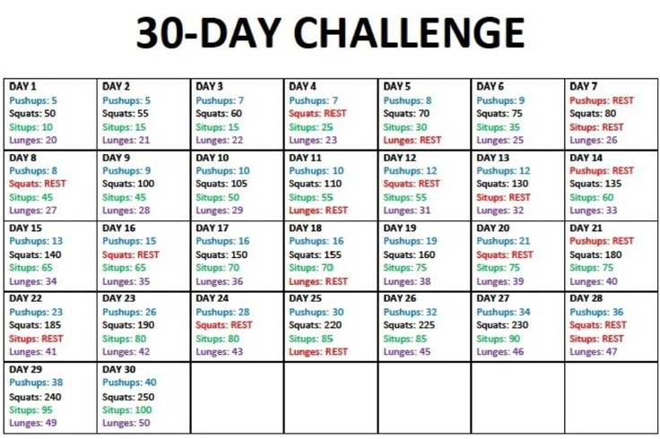 30 Day Workout Plan Injeniouslife