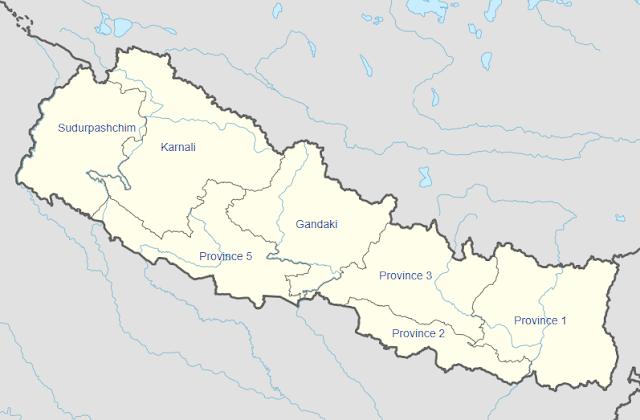 Peta pembagian wilayah administratif Nepal