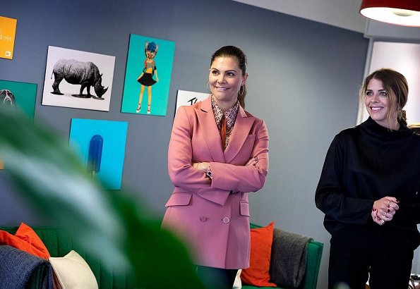 Crown Princess Victoria wore Rodebjer pink blazer, Baum und Pferdgarten blouse, Af Klingberg rakel suede nero boots