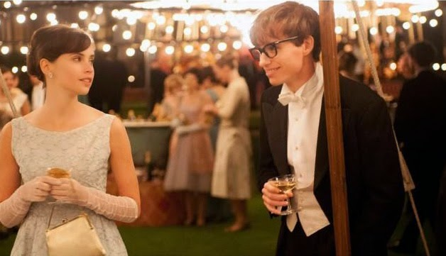 The Theory of Everything, Directed by James Marsh, starring Eddie Redmayne as Stephen Hawking and Felicity Jones as his Hawking'a Jane Hawking
