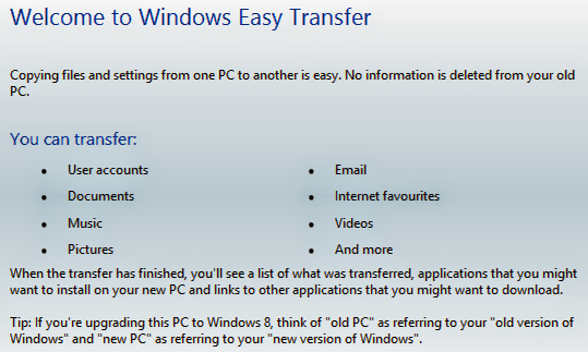 Transfer User Accounts, Documents and More by Easy Transfer