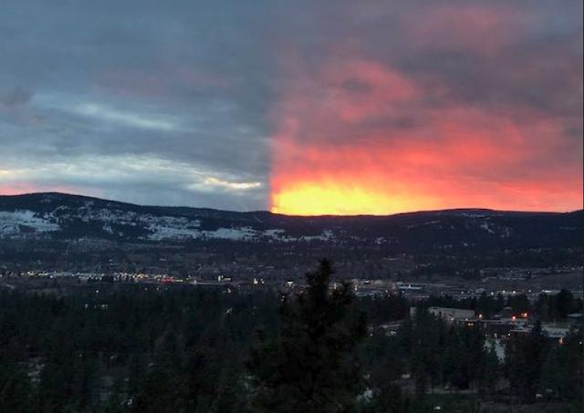 Extraño fenómeno divide el cielo en dos en Canadá