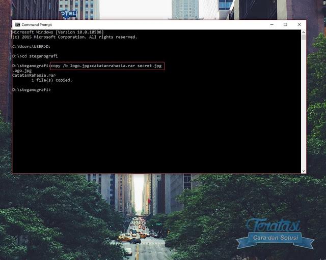 Ketikan Perintah Steganografi Melalui Cmd - Trik Steganografi Menyembunyikan File ke dalam File Gambar - Teratasi.com