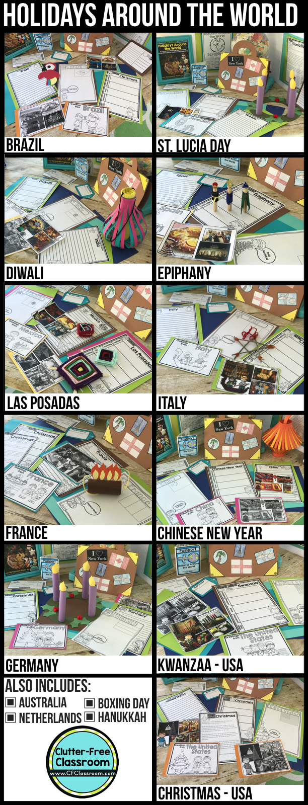 A Holidays Around the World Unit full of activities, close reads, crafts, writing, & social studies lessons for 12 countries / holidays makes learning in December fun for students. Make a passport, suitcase, & map to track travel. Learn about cultures through books, art, & videos. Clutter-Free Classroom has created printables to use as is or in interactive notebooks & lap books. Christmas Around the World is perfect for kids in 1st, 2nd, 3rd, 4th, 5th & Homeschool.