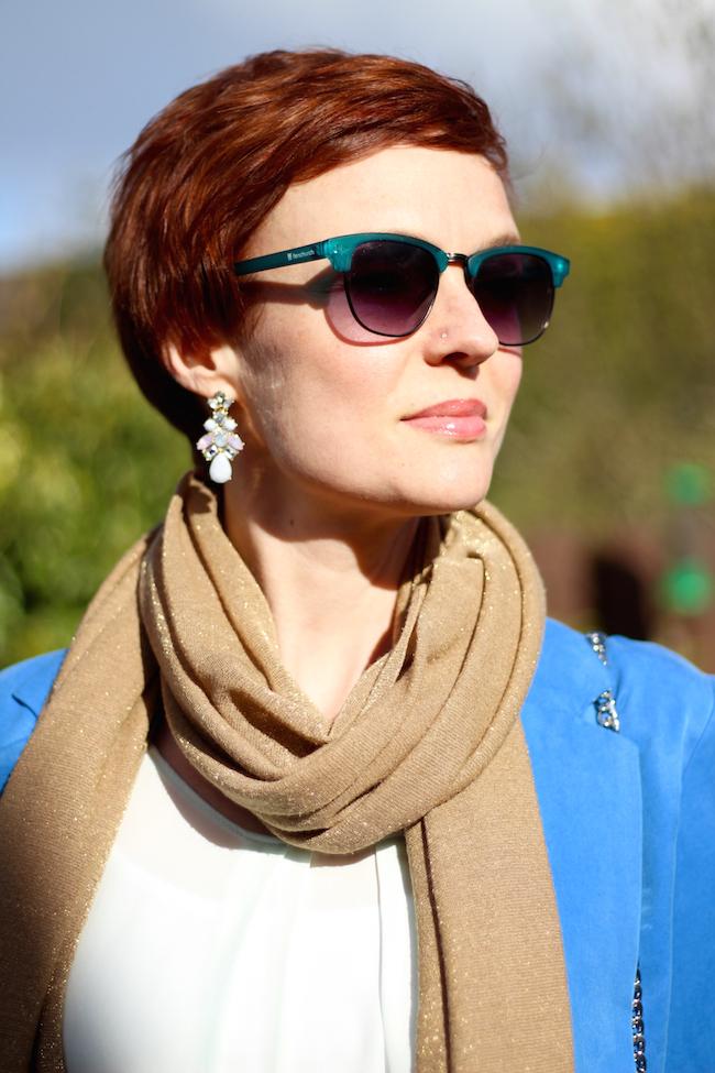 Fake Fabulous | Red Pixie cut | Blue monsoon blazer, Gap ripped jeans, gold accessories, irregular choice heels.