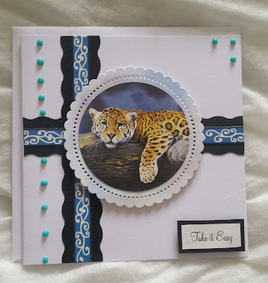 "Take it easy... Leopard on branch 7"" square card  from Pollyanna Pickering artwork"