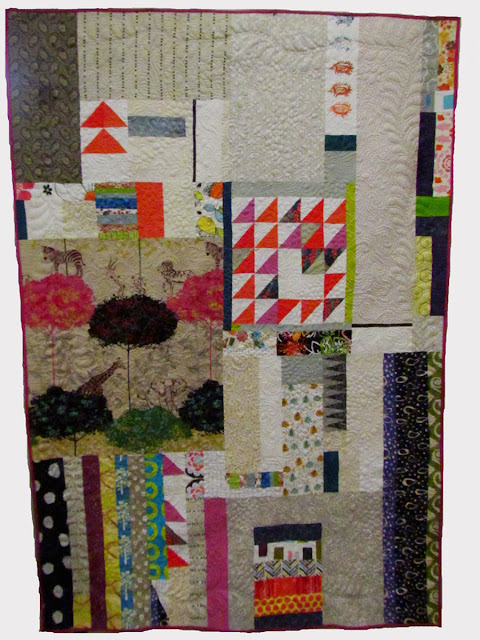 mprov piecing- free motion quilted - Marty Mason