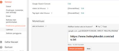 Cara mengaktifkan pengaturan ads.txt diblogger1