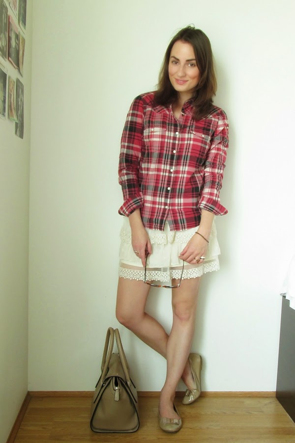 Plaid Shirt - Lace Skirt