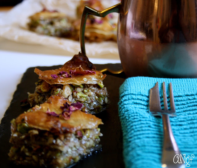 Crispy gluten free pastry on homemade baklava | Anyonita-nibbles.co.uk