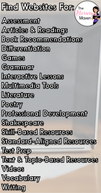 How many times have you heard of or learned about a really cool website, only to promptly forget the name of it? I know it has happened to me too many times to count, which is why I started to create a list of them. And here it is, the big list of free online resources for secondary English Language Arts teachers.
