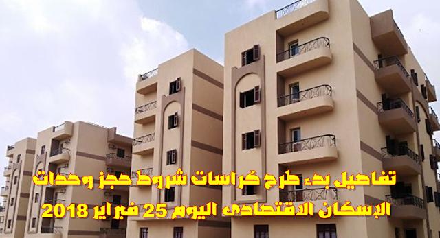تفاصيل بدء طرح كراسات شروط حجز وحدات الإسكان الاقتصادى اليوم 25 فبراير 2018