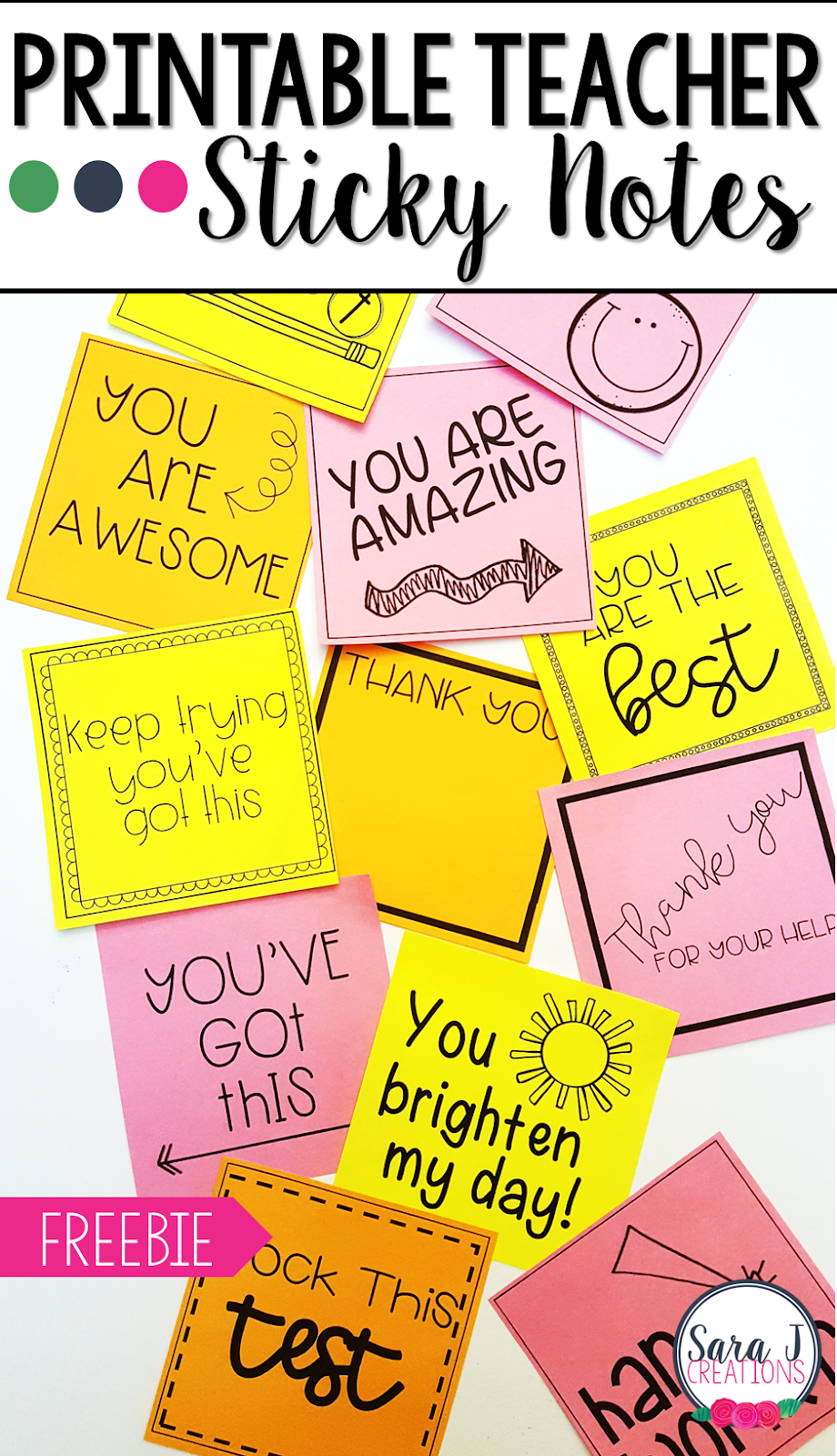 Printable sticky notes for teachers